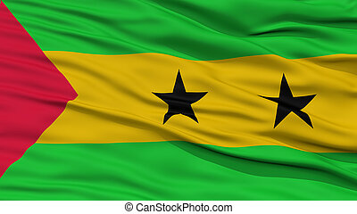 Closeup Sao Tome and Principe Flag, Waving in the Wind, High...