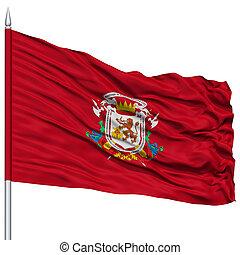Caracas City Flag on Flagpole, Capital City of Venezuela,...