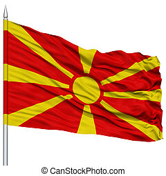 Macedonia Flag on Flagpole , Flying in the Wind, Isolated on...