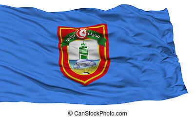 Isolated Tunis City Flag, Capital City of Tunis, Waving on...