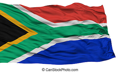 Isolated South Africa Flag, Waving on White Background, High...
