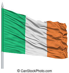 Ireland Flag on Flagpole , Flying in the Wind, Isolated on...