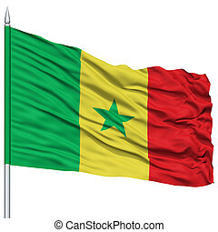 Senegal Flag on Flagpole