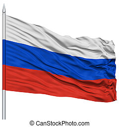 Russia Flag on Flagpole , Flying in the Wind, Isolated on...