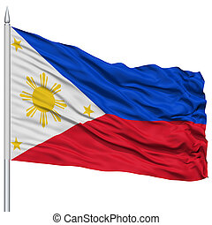 Philippines Flag on Flagpole , Flying in the Wind, Isolated...