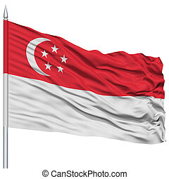 Singapore Flag on Flagpole , Flying in the Wind, Isolated on...