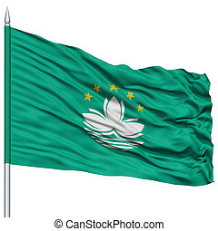 Macau Flag on Flagpole , Flying in the Wind, Isolated on...