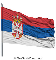 Serbia Flag on Flagpole , Flying in the Wind, Isolated on...