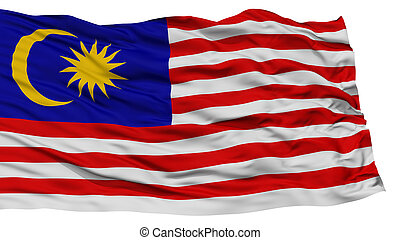 Isolated Malaysia Flag, Waving on White Background, High...