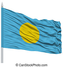 Palau Flag on Flagpole , Flying in the Wind, Isolated on...