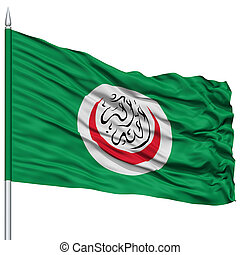 OIC Flag on Flagpole , Flying in the Wind, Isolated on White...