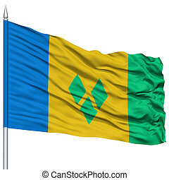 Saint Vincent and Grenadines Flag on Flagpole , Flying in...