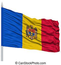 Moldova Flag on Flagpole