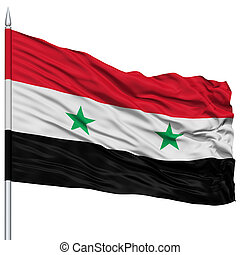 Syria Flag on Flagpole , Flying in the Wind, Isolated on...