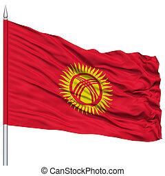 Kyrgyzstan Flag on Flagpole