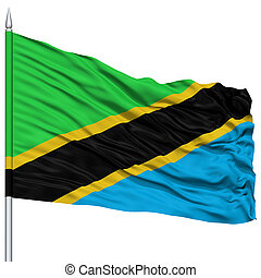 Tanzania Flag on Flagpole , Flying in the Wind, Isolated on...