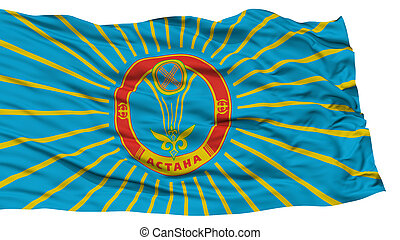 Isolated Astana City Flag, Capital City of Kazakhstan,...