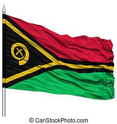 Vanuatu Flag on Flagpole