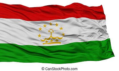 Isolated Tajikistan Flag, Waving on White Background, High...