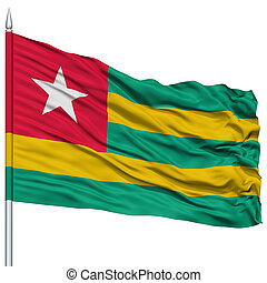 Togo Flag on Flagpole , Flying in the Wind, Isolated on...