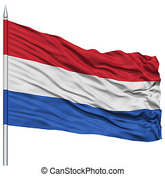 Netherlands Flag on Flagpole , Flying in the Wind, Isolated...