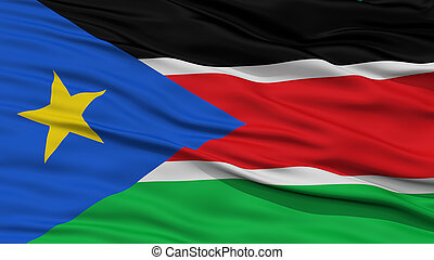Closeup South Sudan Flag, Waving in the Wind, High...