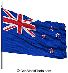 New Zealand Flag on Flagpole , Flying in the Wind, Isolated...