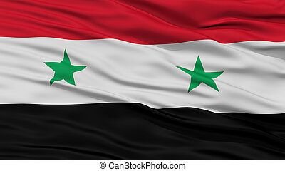 Closeup Syria Flag, Waving in the Wind, High Resolution