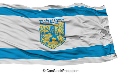 Isolated Jerusalem City Flag, Capital City of Israel, Waving...