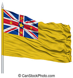 Niue Flag on Flagpole , Flying in the Wind, Isolated on...
