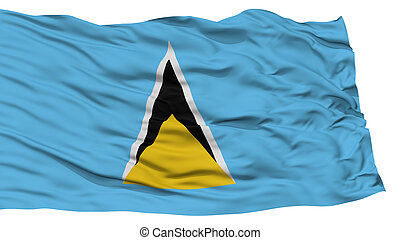 Isolated Saint Lucia Flag, Waving on White Background, High...