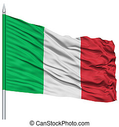 Italy Flag on Flagpole