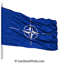 NATO Flag on Flagpole , Flying in the Wind, Isolated on...