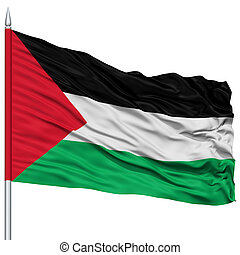 Palestine Flag on Flagpole , Flying in the Wind, Isolated on...