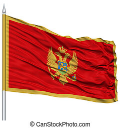 Montenegro Flag on Flagpole , Flying in the Wind, Isolated...