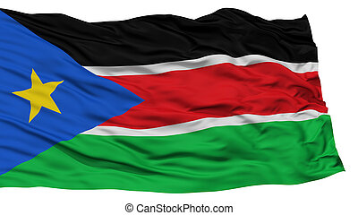 Isolated South Sudan Flag, Waving on White Background, High...