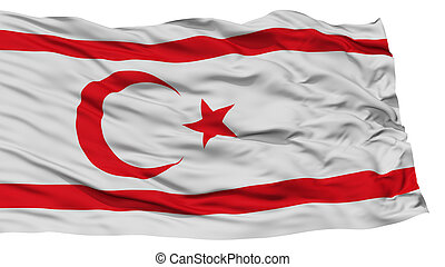 Isolated Northern Cyprus Flag, Waving on White Background,...