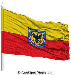 Bogota City Flag on Flagpole, Capital City of Colombia,...
