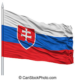Slovakia Flag on Flagpole , Flying in the Wind, Isolated on...
