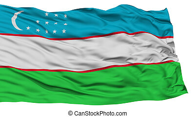 Isolated Uzbekistan Flag, Waving on White Background, High...