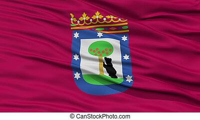 Closeup Madrid City Flag, Spain - Closeup Madrid City Flag,...