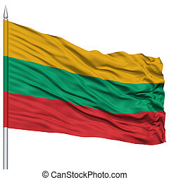 Lithuania Flag on Flagpole , Flying in the Wind, Isolated on...