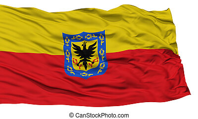 Isolated Bogota City Flag, Capital City of Colombia, Waving...