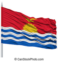 Kiribati Flag on Flagpole , Flying in the Wind, Isolated on...