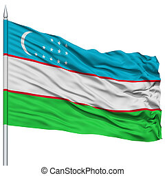 Uzbekistan Flag on Flagpole , Flying in the Wind, Isolated...