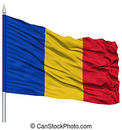 Romania Flag on Flagpole , Flying in the Wind, Isolated on...