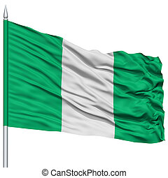 Nigeria Flag on Flagpole , Flying in the Wind, Isolated on...