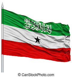 Somaliland Flag on Flagpole , Flying in the Wind, Isolated...