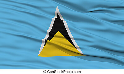 Closeup Saint Lucia Flag, Waving in the Wind, High...