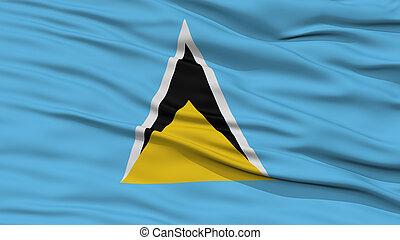 Closeup Saint Lucia Flag, Waving in the Wind, High...